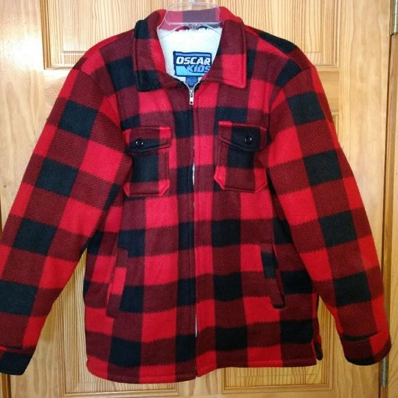 93b3cebd5459 Oscar Kids Buffalo Check Plaid Fleece Lined Jacket.  M_5ab6e81e00450fc02f4b7752